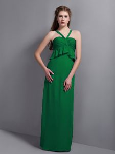 Unique V-neck Green Long School Winter Party Dress with Ruche in Austin