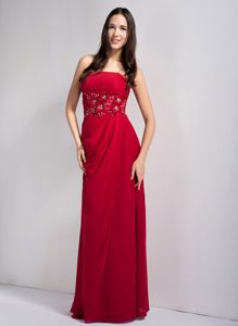 Wine Red Strapless Floor-length Dresses for School Parties with Appliques