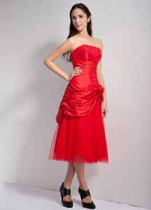 Strapless Red Tea-length Dresses for School Party with Flower and Ruche