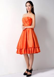 Orange Red Strapless Knee-length School Theme Party Dress with Layers