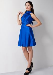 Special Royal Blue High-neck Knee-length School Anniversary Party Dress