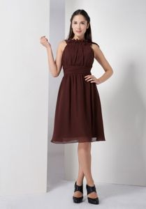 Brown Ruched Bateau Knee-length School Winter Party Dresses in Midland