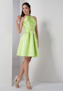 New Arrival High-neck Yellow Green Short Theme Party Dress with Cutout