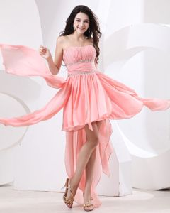 Special Watermelon Ruched Strapless High-low School Party Dress in Katy
