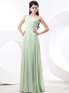 Pretty Pleated Apple Green One Shoulder Long School Theme Party Dress