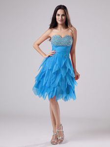 Pleated Aqua Blue Beaded Sweetheart Dress for School Party with Layers
