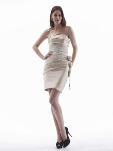 Elegant Champagne Strapless Short Party Dress with Appliques and Flower