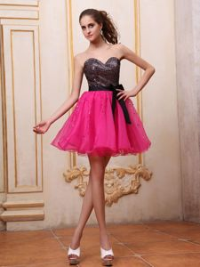 Cute Sweetheart Hot Pink Short School Party Dress with Sequins and Bow