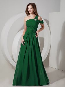 Modest Dark Green One Shoulder Long School Party Dresses with Ruche