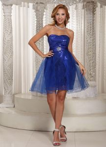 Special Royal Blue Sweetheart Mini-length School Party Dress with Sequins