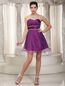 Popular Sweetheart Purple Short Beaded School Anniversary Party Dress