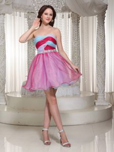 Multi-color Strapless Mini-length School Theme Party Dress with Beading