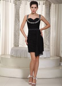 Elegant Black Ruched Mini-length School Theme Party Dresses with Straps