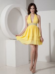Special Ruched Halter Yellow Mini-length School Party Dresses with Layers