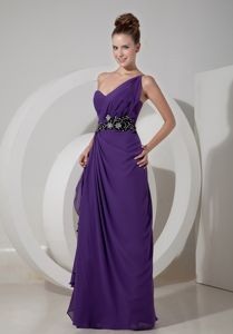 Wholesale Purple Beaded Single Shoulder Long School Theme Party Dress
