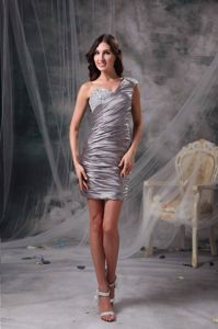 Low Price One Shoulder Beaded Mini-length Prom Party Dress with Ruche