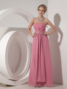 Rose Pink Strapless Ruched Floor-length School Anniversary Party Dresses