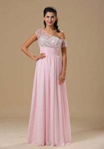 Asymmetrical Cap Sleeves Baby Pink Long Prom Party Dress with Sequins