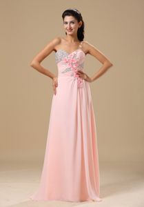 Elegant Light Pink Sweetheart Floor-length Prom Party Dresses with Flower
