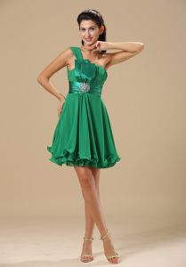 Cute One Shoulder Green Mini-length Prom Party Dress with Ruche in Katy
