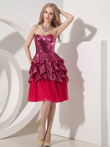 New Red Sweetheart Knee-length Party Dresses with Sequin and Pick-ups