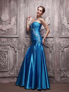 Sweetheart Blue Floor-length Wedding Party Dress with Beading in Austin