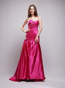 Hot Pink Beaded Sweetheart Brush Train Prom Party Dresses with Ruche