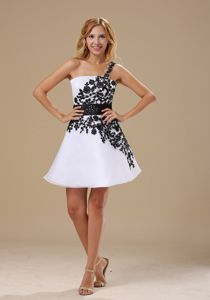 Embroidered One Shoulder School Party Dresses in Black and White