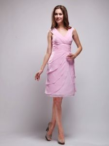 Pink V-neck Knee-length Chiffon Ruched School Spring Party Dresses