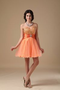 Orange Red Mini-length Beaded School Winter Party Dress in Organza