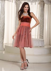 Strapless Short School Party Dress with Printing and Tulle Belt in Rust Red