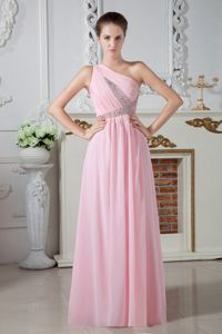 Baby Pink One Shoulder Chiffon Cheap School Party Dress with Beading