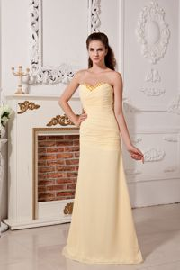 Light Yellow Sweetheart School Party Dress with Ruches and Beading in Denver
