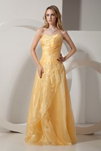 Sweetheart Beaded Gold School Spring Party Dress with Embroidery