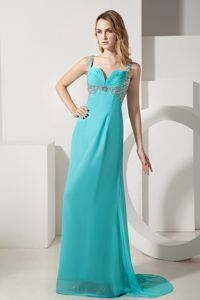 Turquoise Chiffon Beaded School Winter Party Dress with Brush Train in Aspen
