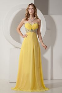 Yellow Sweetheart Chiffon School Party Dress with Silver Beading in Malibu