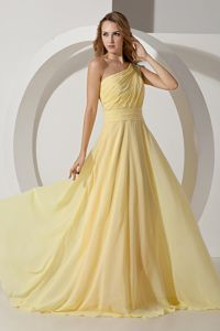 One Shoulder Chiffon Beaded School Party Dress in Light Yellow in Irvine