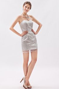 Sweetheart Organza Sequined Mini-length School Party Dress in Grey