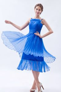 Blue Organza Tea-length School Summer Party Dress with Ruches in Eureka