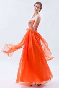 Orange Red Sweetheart Chiffon School Party Dress with Beading in Encino