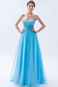 Baby Blue Sweetheart Tulle Floor-length School Party Dresses with Beading