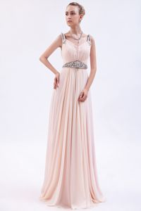 Pink Chiffon Beaded School Spring Party Dress with Brush Train in Dublin