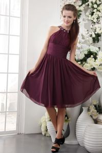 Burgundy High-neck Knee-length Chiffon Beaded School Party Dress