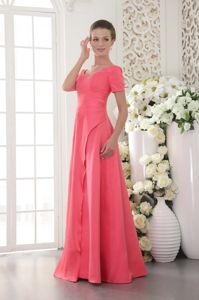 Coral Red Scoop Floor-length Beaded School Spring Party Dress in Satin
