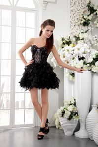 Black Sweetheart Short School Summer Party Dress with Beading and Lace