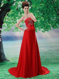 Beaded Chiffon Red School Summer Party Dresses with Court Train