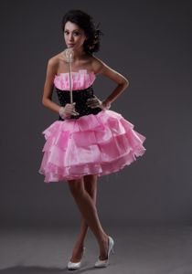 Ruffled Pink and Black Mini-length Strapless School Party Dresses in Corona