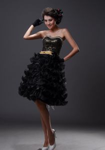Beaded Ruffled School Summer Party Dresses in Black in Canoga Park