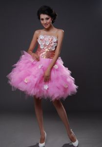 Hand Flowery Tulle Strapless Mini-length Pink School Party Dresses in Aptos