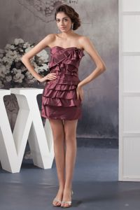 Burgundy School Winter Party Dresses with Bowknot and Ruching in Prescott